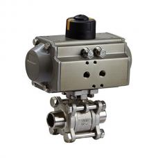 Кран шаровой нерж. 3-х сост. п/проходн. под сварку 1/2' DN15 (21,3 мм) ISO, AISI 316L// Управление пневмопривод дв. действия(воздух/воздух)/Т-20*С…+80*С