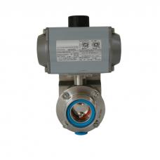 Затвор дисковый нержавеющий P-C DN25 AISI 304, DIN // Управление пневмопривод дв. действия  (воздух/воздух)